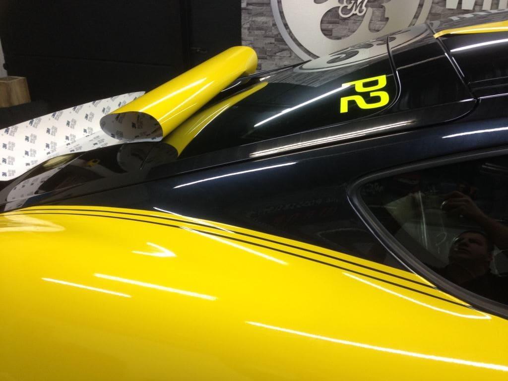 Porsche Cayman Yellow, Carwrapping door Wrapmyride.nu Foto-nr:8845, ©2017