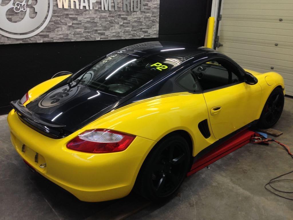 Porsche Cayman Yellow, Carwrapping door Wrapmyride.nu Foto-nr:8835, ©2017