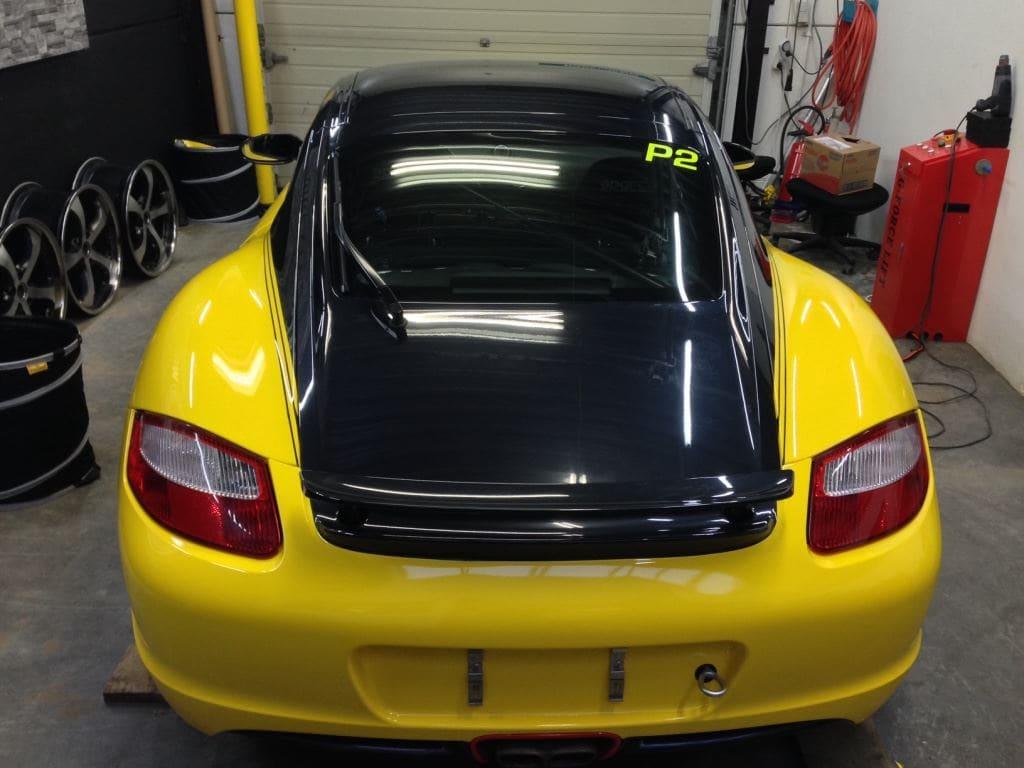 Porsche Cayman Yellow, Carwrapping door Wrapmyride.nu Foto-nr:8836, ©2017