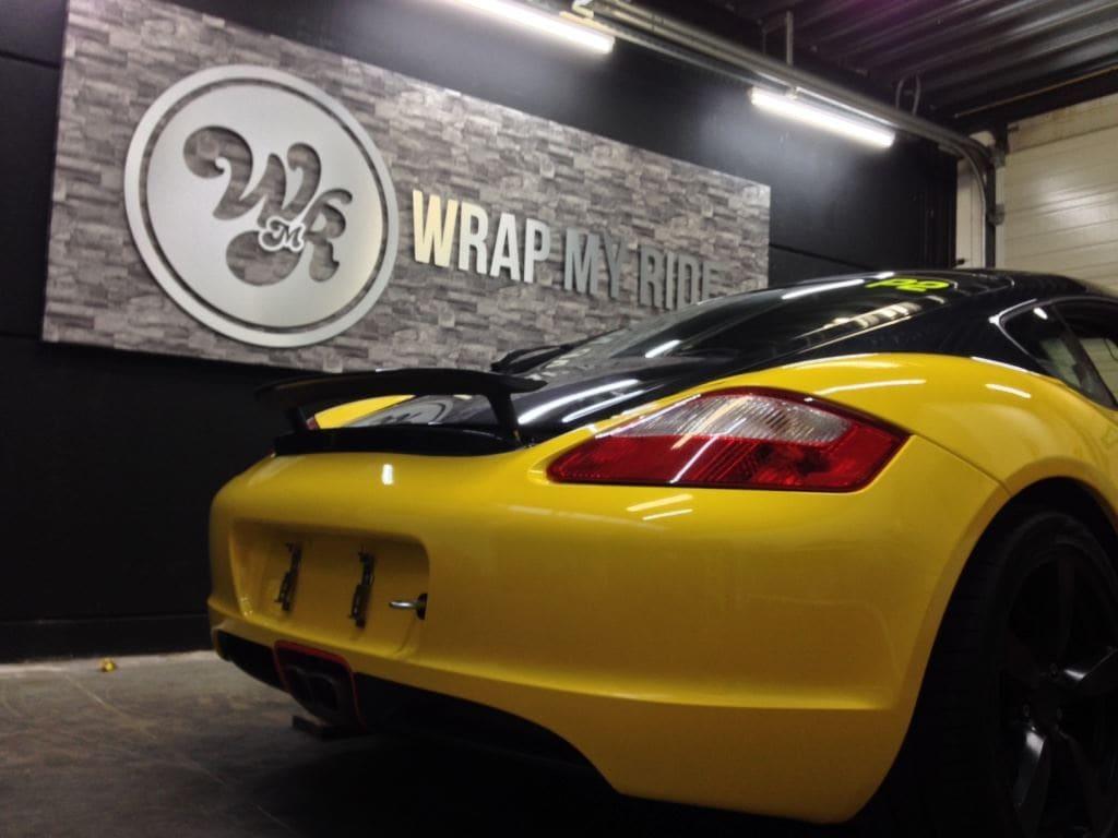 Porsche Cayman Yellow, Carwrapping door Wrapmyride.nu Foto-nr:8837, ©2017