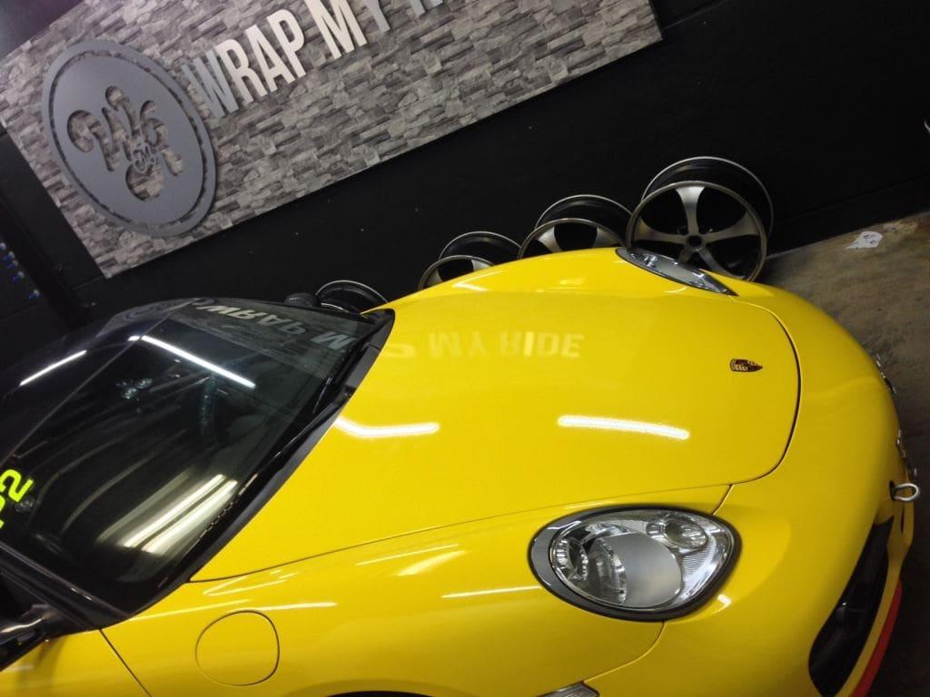 Porsche Cayman Yellow, Carwrapping door Wrapmyride.nu Foto-nr:8838, ©2017