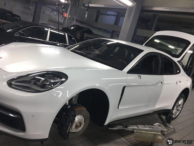 Porsche Panamera 4S Satin Frozen Vanilla, Carwrapping door Wrapmyride.nu Foto-nr:10549, ©2018