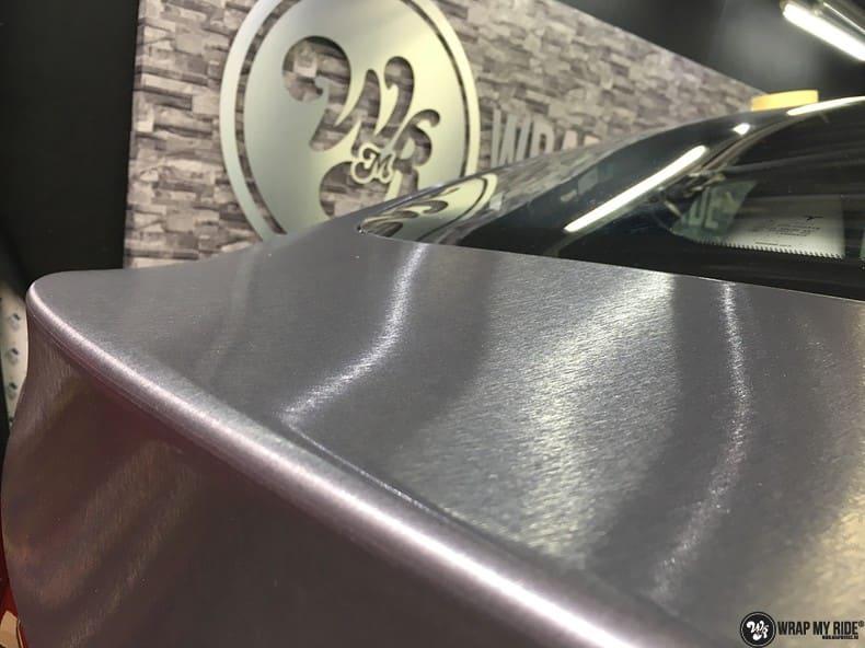 Tesla Model S brushed steel, Carwrapping door Wrapmyride.nu Foto-nr:9911, ©2017