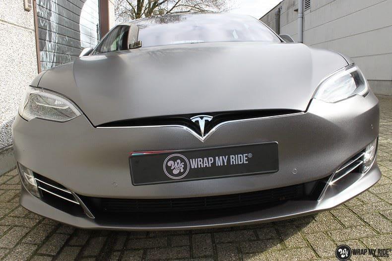 Tesla Model S Satin Dark Grey, Carwrapping door Wrapmyride.nu Foto-nr:9577, ©2017