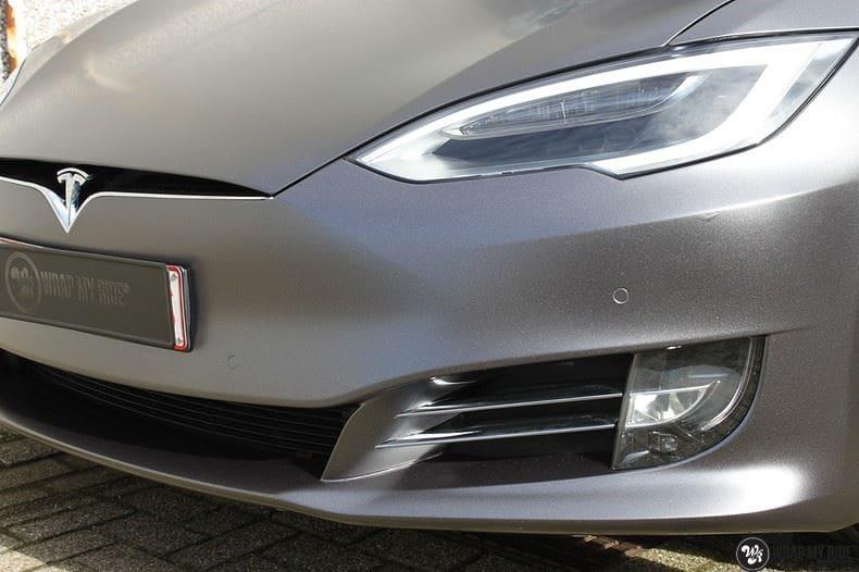 Tesla Model S Satin Dark Grey, Carwrapping door Wrapmyride.nu Foto-nr:9573, ©2017