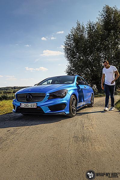 Mercedes CLA Matte Bleu Chrome, Carwrapping door Wrapmyride.nu Foto-nr:13782, ©2021