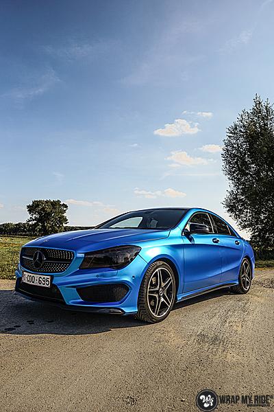 Mercedes CLA Matte Bleu Chrome, Carwrapping door Wrapmyride.nu Foto-nr:13783, ©2021