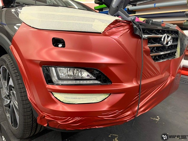 Hyundai Tucson satin vampire red, Carwrapping door Wrapmyride.nu Foto-nr:13182, ©2021