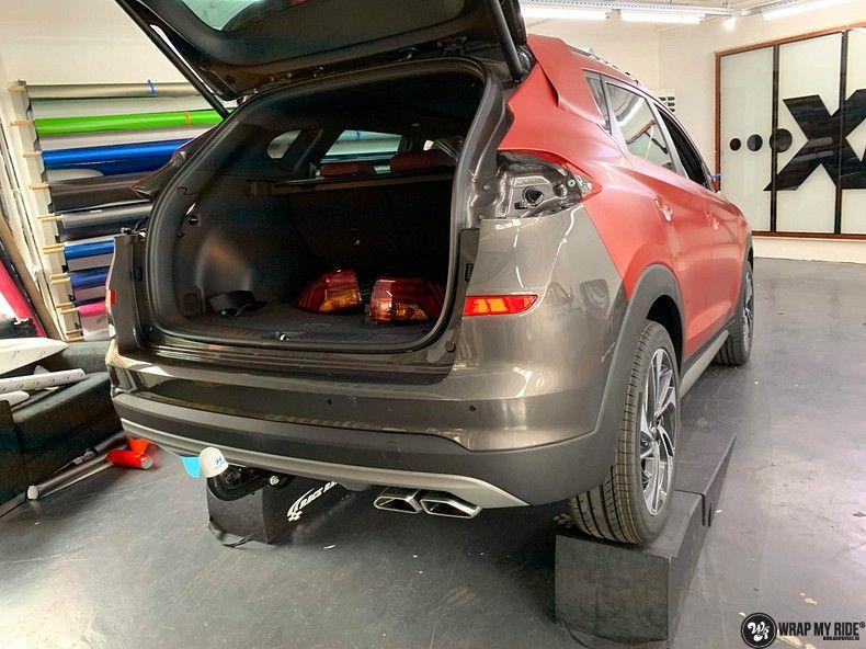 Hyundai Tucson satin vampire red, Carwrapping door Wrapmyride.nu Foto-nr:13192, ©2021