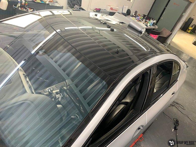 BMW M5 satin white aluminium, Carwrapping door Wrapmyride.nu Foto-nr:13134, ©2020