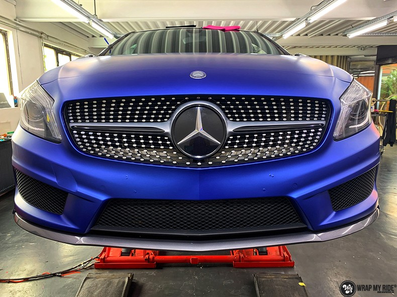 Mercedes A-klasse matte slate bleu, Carwrapping door Wrapmyride.nu Foto-nr:13305, ©2020