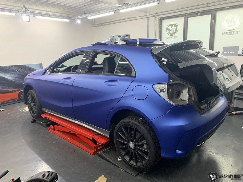 Mercedes A-klasse matte slate bleu, Carwrapping door Wrapmyride.nu Foto-nr:13315, ©2020