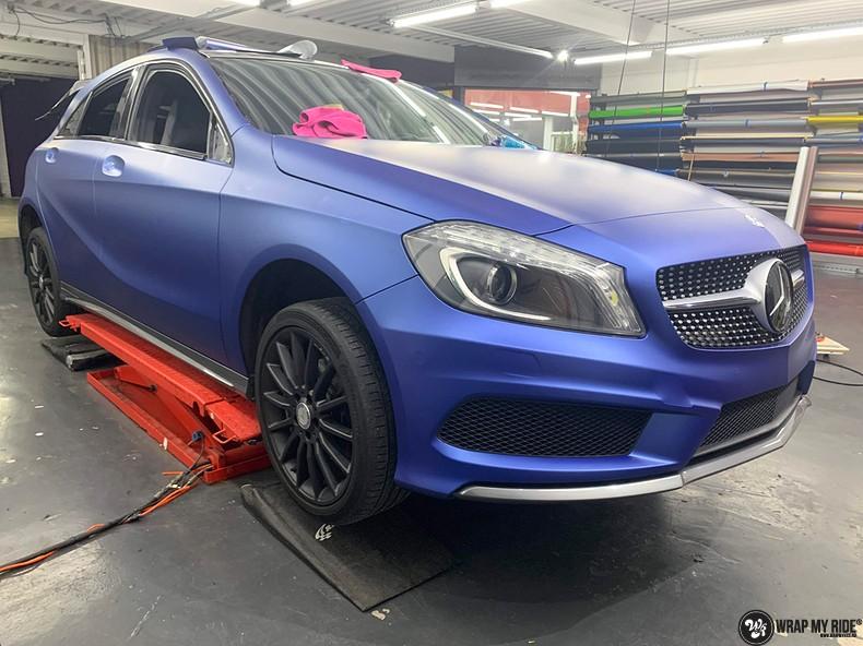 Mercedes A-klasse matte slate bleu, Carwrapping door Wrapmyride.nu Foto-nr:13313, ©2020