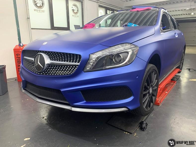Mercedes A-klasse matte slate bleu, Carwrapping door Wrapmyride.nu Foto-nr:13312, ©2020
