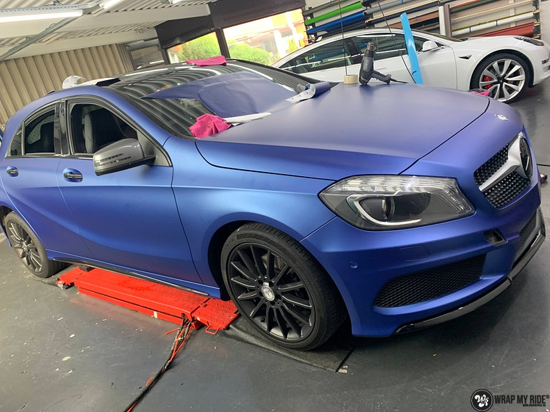 Mercedes A-klasse matte slate bleu, Carwrapping door Wrapmyride.nu Foto-nr:13306, ©2020