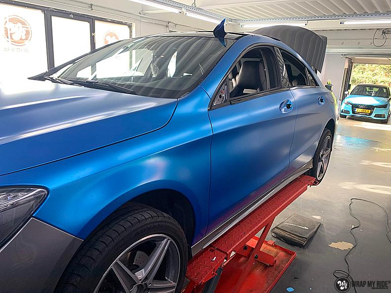 Mercedes CLA Matte Bleu Chrome, Carwrapping door Wrapmyride.nu Foto-nr:13790, ©2021
