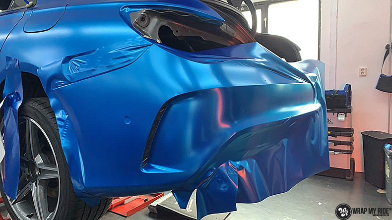 Mercedes CLA Matte Bleu Chrome, Carwrapping door Wrapmyride.nu Foto-nr:13794, ©2021