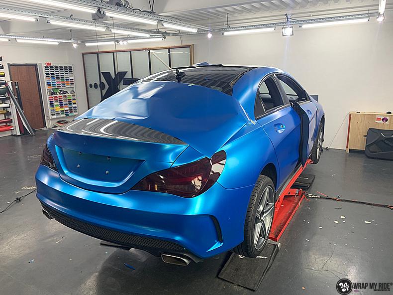 Mercedes CLA Matte Bleu Chrome, Carwrapping door Wrapmyride.nu Foto-nr:13796, ©2021