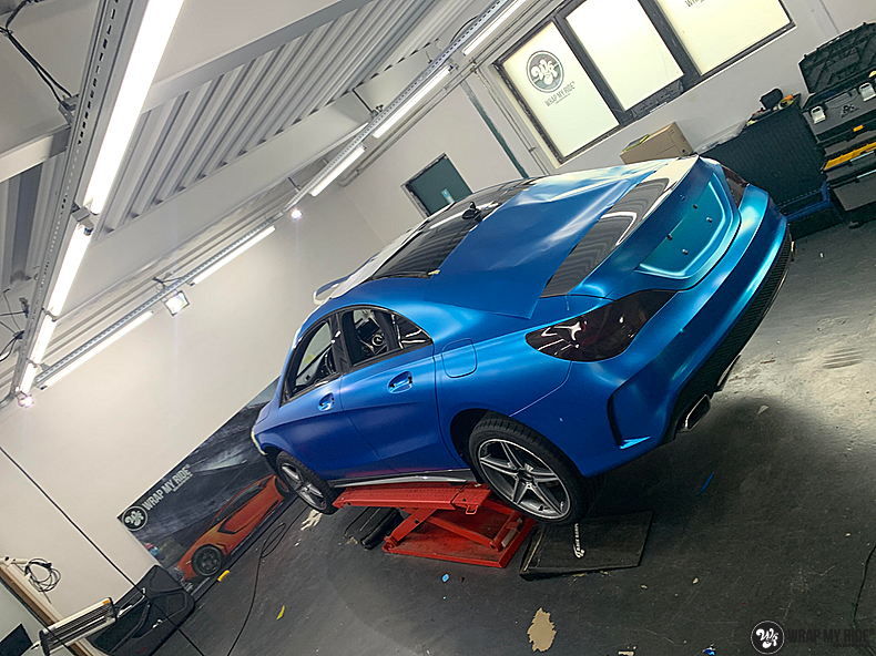 Mercedes CLA Matte Bleu Chrome, Carwrapping door Wrapmyride.nu Foto-nr:13797, ©2021
