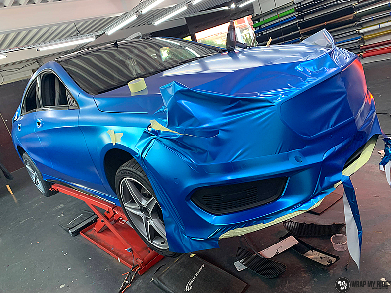 Mercedes CLA Matte Bleu Chrome, Carwrapping door Wrapmyride.nu Foto-nr:13800, ©2021