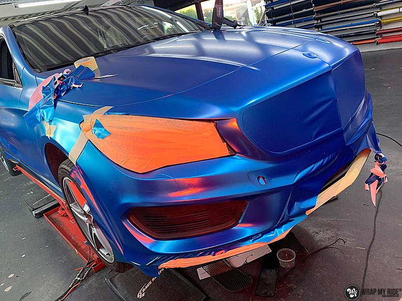 Mercedes CLA Matte Bleu Chrome, Carwrapping door Wrapmyride.nu Foto-nr:13802, ©2021