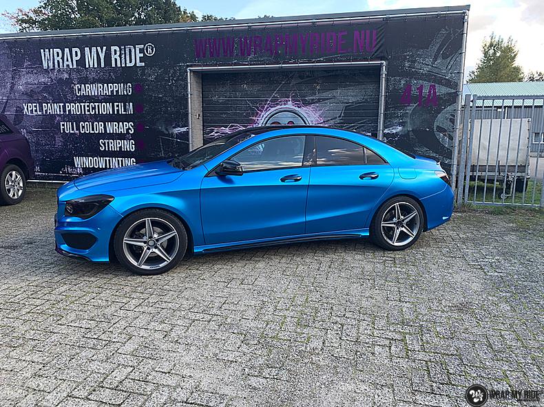 Mercedes CLA Matte Bleu Chrome, Carwrapping door Wrapmyride.nu Foto-nr:13804, ©2021