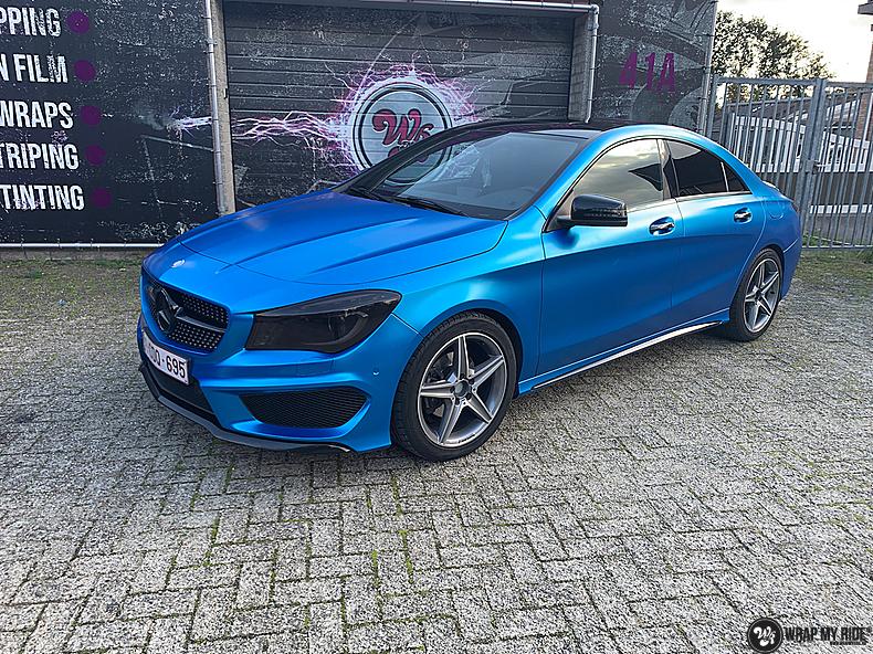 Mercedes CLA Matte Bleu Chrome, Carwrapping door Wrapmyride.nu Foto-nr:13806, ©2021