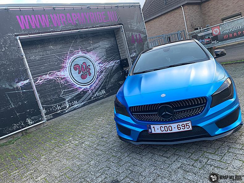 Mercedes CLA Matte Bleu Chrome, Carwrapping door Wrapmyride.nu Foto-nr:13813, ©2021