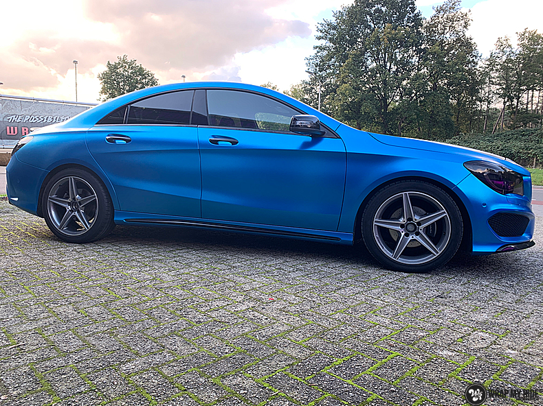 Mercedes CLA Matte Bleu Chrome, Carwrapping door Wrapmyride.nu Foto-nr:13815, ©2021
