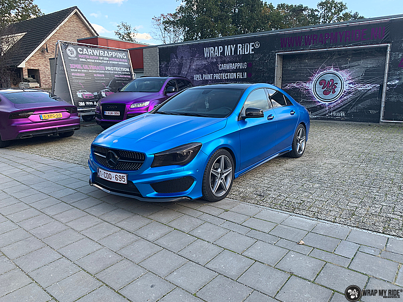 Mercedes CLA Matte Bleu Chrome, Carwrapping door Wrapmyride.nu Foto-nr:13818, ©2021