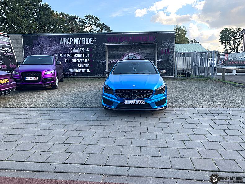 Mercedes CLA Matte Bleu Chrome, Carwrapping door Wrapmyride.nu Foto-nr:13819, ©2021