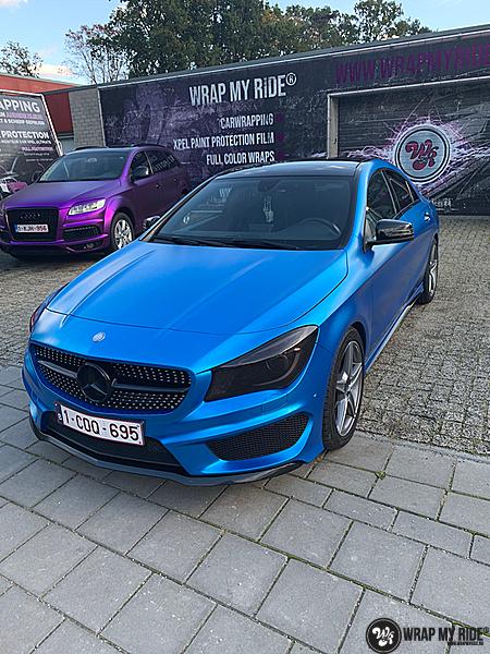 Mercedes CLA Matte Bleu Chrome, Carwrapping door Wrapmyride.nu Foto-nr:13822, ©2021