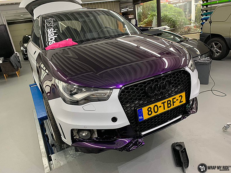 Audi A1 inozotec midnight purple, Carwrapping door Wrapmyride.nu Foto-nr:13713, ©2021
