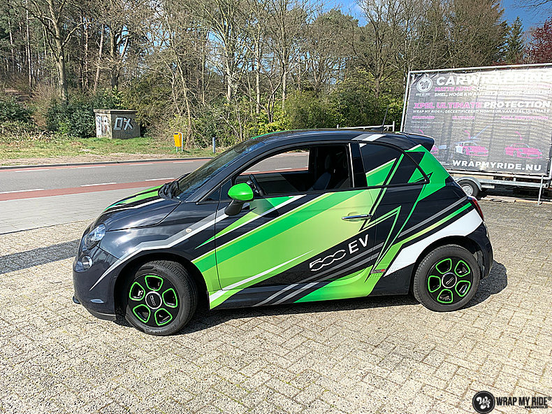fiat 500 EV full colour wrap, Carwrapping door Wrapmyride.nu Foto-nr:13385, ©2021