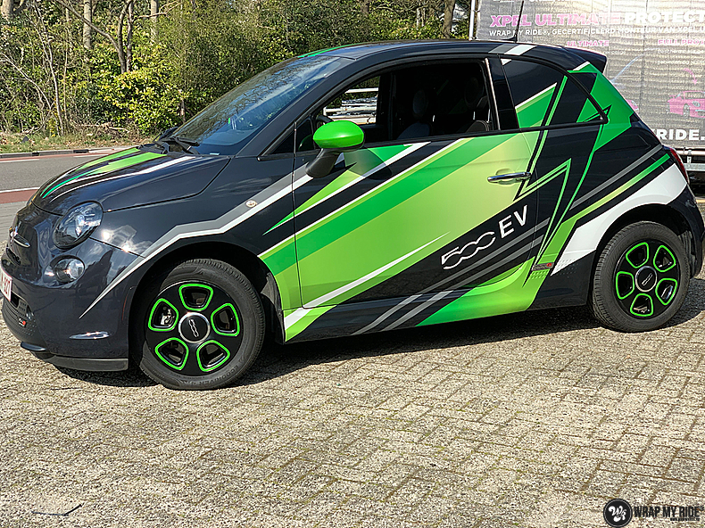 fiat 500 EV full colour wrap, Carwrapping door Wrapmyride.nu Foto-nr:13384, ©2021