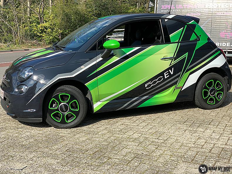 fiat 500 EV full colour wrap, Carwrapping door Wrapmyride.nu Foto-nr:13384, ©2021