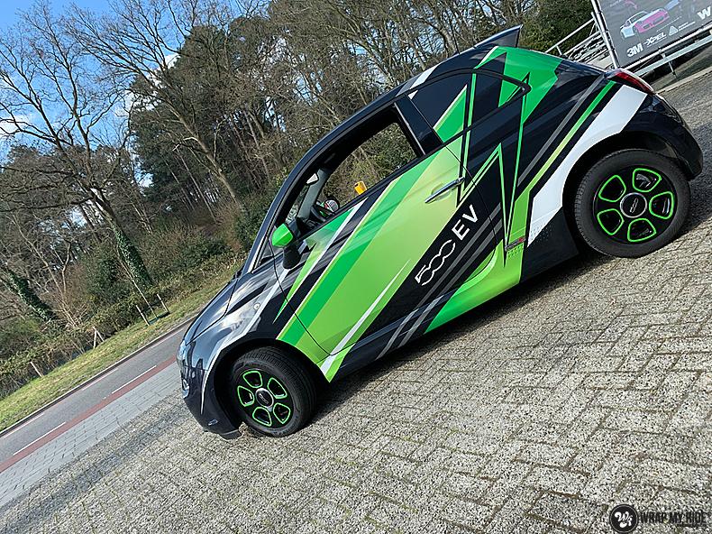 fiat 500 EV full colour wrap, Carwrapping door Wrapmyride.nu Foto-nr:13362, ©2021