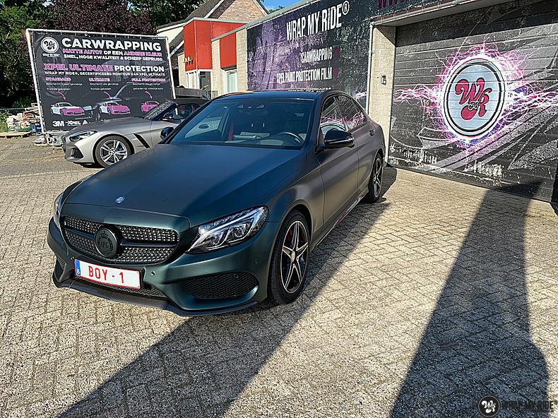 Mercedes C43 Matte Smaragd, Carwrapping door Wrapmyride.nu Foto-nr:13539, ©2020