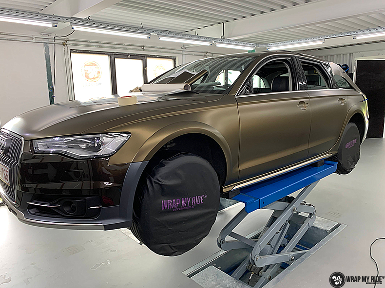 Audi A6 All-road Matte Bond Gold, Carwrapping door Wrapmyride.nu Foto-nr:13418, ©2021