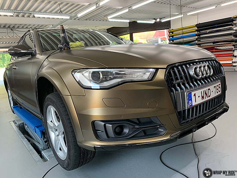 Audi A6 All-road Matte Bond Gold, Carwrapping door Wrapmyride.nu Foto-nr:13412, ©2021
