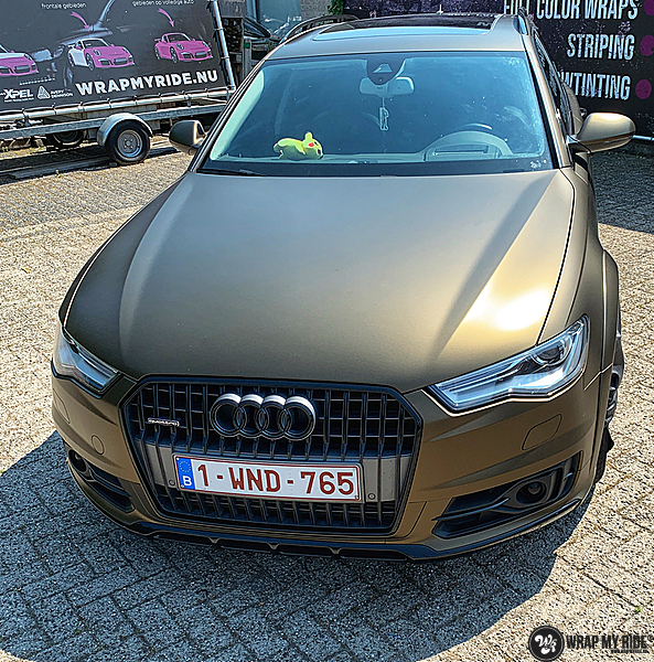 Audi A6 All-road Matte Bond Gold, Carwrapping door Wrapmyride.nu Foto-nr:13402, ©2020