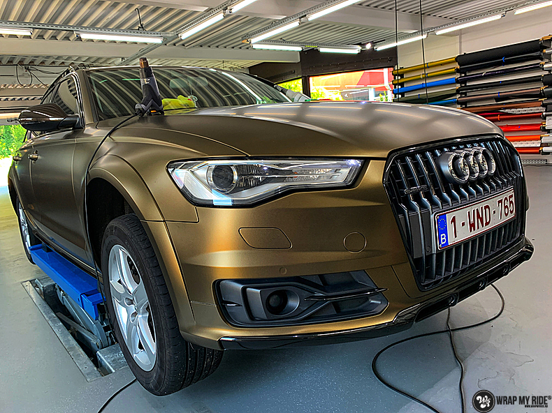 Audi A6 All-road Matte Bond Gold, Carwrapping door Wrapmyride.nu Foto-nr:13411, ©2020