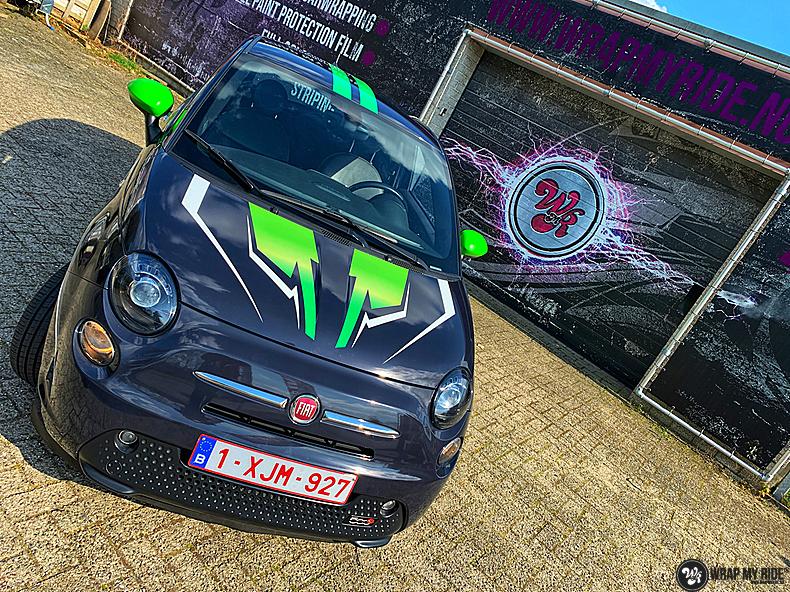 fiat 500 EV full colour wrap, Carwrapping door Wrapmyride.nu Foto-nr:13381, ©2021