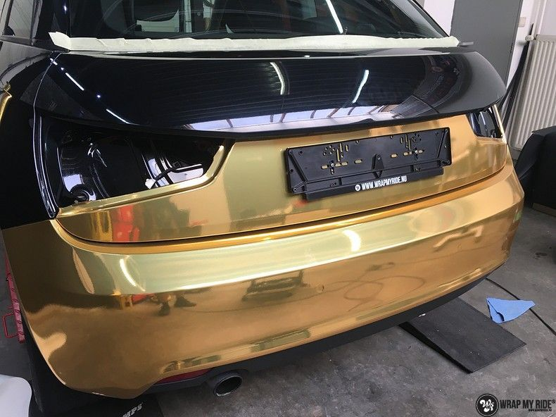 Audi A1 avery gold chrome, Carwrapping door Wrapmyride.nu Foto-nr:11134, ©2021