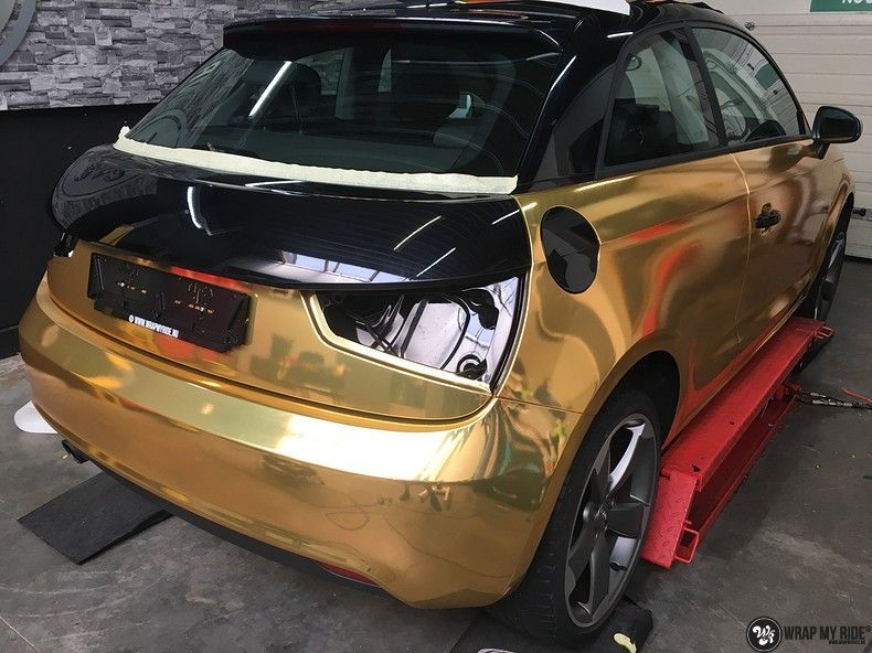 Audi A1 avery gold chrome, Carwrapping door Wrapmyride.nu Foto-nr:11136, ©2019