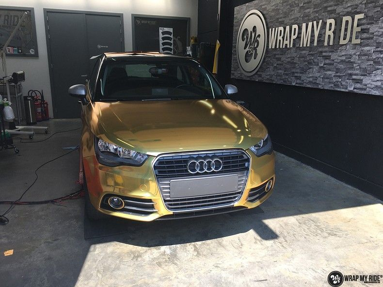 Audi A1 avery gold chrome, Carwrapping door Wrapmyride.nu Foto-nr:11130, ©2021