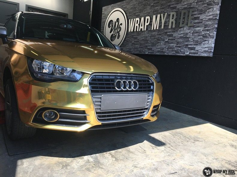 Audi A1 avery gold chrome, Carwrapping door Wrapmyride.nu Foto-nr:11129, ©2019
