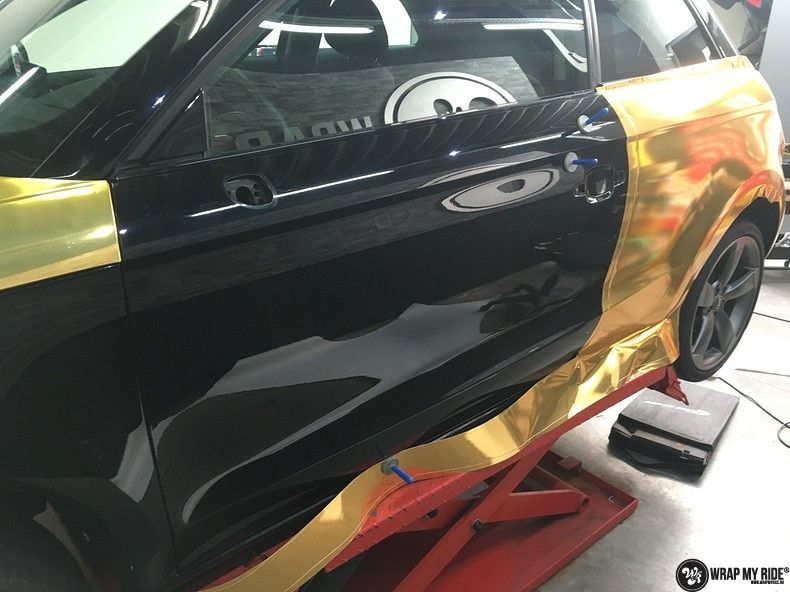 Audi A1 avery gold chrome, Carwrapping door Wrapmyride.nu Foto-nr:11131, ©2019