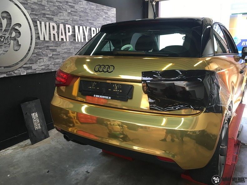 Audi A1 avery gold chrome, Carwrapping door Wrapmyride.nu Foto-nr:11164, ©2019