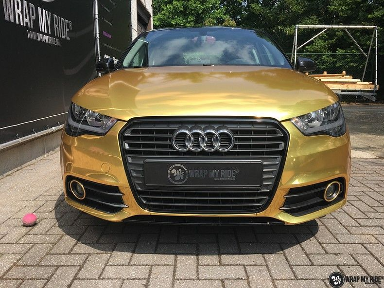 Audi A1 avery gold chrome, Carwrapping door Wrapmyride.nu Foto-nr:11163, ©2020